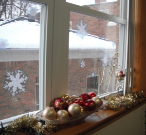Snowflakes on window